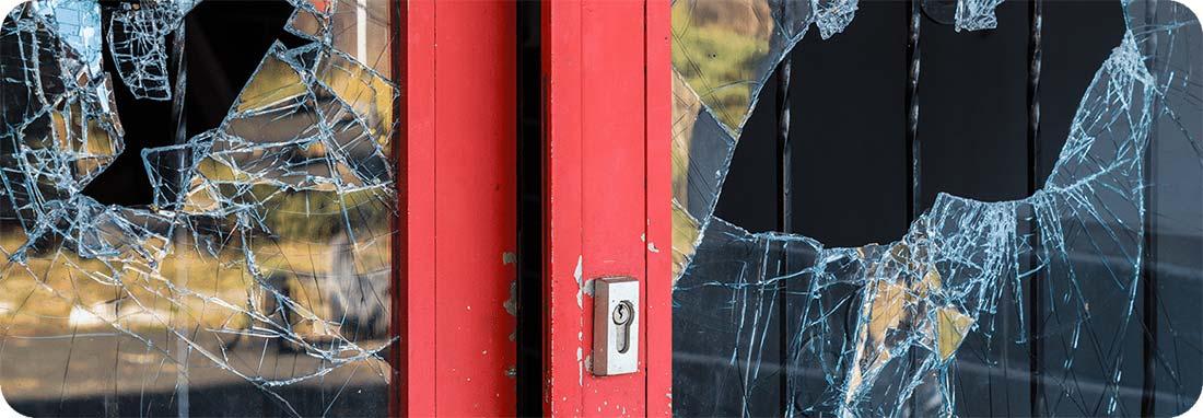 Door with broken glass