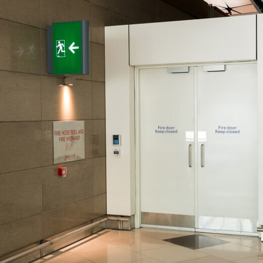 white fire exit door